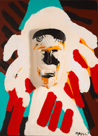 Karel Appel (1921-2006) Indian Chief, 1977 Acrylic on wooden construction 32 x 23 x 3-1/2 inches