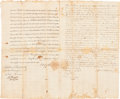 Autographs:Statesmen, George Taylor: An Important Signed Document from the Third RarestSigner of the Declaration of Independence....
