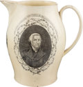 Political:3D & Other Display (pre-1896), James Madison: Rare Liverpool Creamware Pitcher....