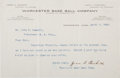 Baseball Collectibles:Others, 1908 Jesse Burkett Signed Letter....