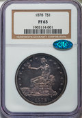 Proof Trade Dollars, 1878 T$1 PR63 NGC. CAC....