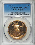 Modern Bullion Coins, 1993-W $50 One-Ounce Gold Eagle PR70 Deep Cameo PCGS....