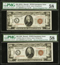 Fr. 2305/2304 $20 1934A Hawaii Mule Federal Reserve Notes. Reverse Changeover Pair. PMG Choice About Unc 58