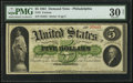 Large Size:Demand Notes, Fr. 2 $5 1861 Demand Note PMG Very Fine 30 Net.. ...