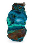 Lapidary Art:Carvings, Polished Chrysocolla Slab. Bagdad Copper Mine. Yavapai County.Arizona. 4.64 x 2.39 x 0.26 inches (11.78 x 6.06 x 0.67 cm)...