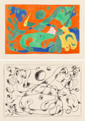 Prints:European Modern, Joan Miró (1893-1983). Untitled, from Suite pou UbuRoi (two works), 1966. Lithographs on Arches paper. 16-3/8 x24-... (Total: 2 Items)