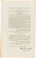 Autographs:Statesmen, [George Washington]. Edmund Randolph Signed Congressional ActExtending Credit on Duties Due on Tea Imported from China. ...