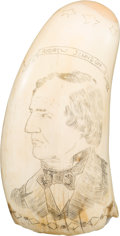 Political:3D & Other Display (pre-1896), Andrew Johnson: Scrimshaw Tooth....