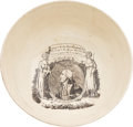 """Political:3D & Other Display (pre-1896), George Washington: Liverpool Creamware Bowl with Highly Desirable """"Long Live the President of the United States"""" Transfer...."""