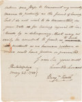 Autographs:Statesmen, Benjamin Rush: A Partial Signed Autograph Letter from One of theScarcer Declaration of Independence Signers....