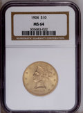 Liberty Eagles: , 1904 $10 MS64 NGC. NGC Census: (32/3). PCGS Population (27/2).Mintage: 161,900. Numismedia Wsl. Price: $2,825. (#8755)...