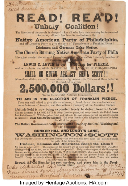 winfield scott anti pierce anti nativist handbill