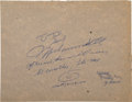 Boxing Collectibles:Autographs, 1984 Muhammad Ali Signed and Inscribed Cardboard Sheet, WithSketch....