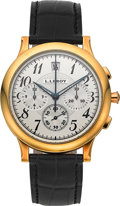Timepieces:Wristwatch, L. Leroy 18K Gold Osmior Chronograph Wristwatch. ...