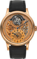 Timepieces:Wristwatch, L. Leroy Unused Osmior Skeleton Tourbillon 18K Rose Gold Automatic Regulator Wristwatch Limited Edition No. 4 of 7, Ref. LL108...