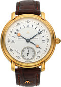 "Timepieces:Wristwatch, Maurice Lacroix Ref. 0770 Large 18k Gold ""Day/Night"" Wristwatch...."