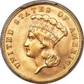 Three Dollar Gold Pieces, 1889 $3 MS66 PCGS. CAC....