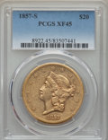 Liberty Double Eagles, 1857-S $20 XF45 PCGS. Variety 20F....