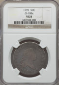 Early Half Dollars, 1795 50C 2 Leaves, O-108a, T-17, R.4, VG8 NGC....