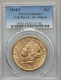 Liberty Double Eagles, 1864-S $20 -- Streak Removed -- Genuine PCGS. AU Details....