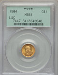 Commemorative Gold, 1904 G$1 Lewis and Clark Gold Dollar MS64 PCGS....