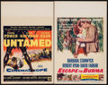 "Movie Posters:Adventure, Untamed & Other Lot (20th Century Fox, 1955). Window Cards (2)(14"" X 22""). Adventure.. ... (Total: 2 Items)"