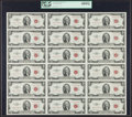 Small Size:Legal Tender Notes, Fr. 1509 $2 1953 Legal Tender Notes. Uncut Sheet of 18. PCGS Superb Gem New 68PPQ.. ...