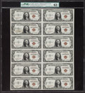 Fr. 2300 $1 1935A Hawaii Silver Certificates. F-C Block Uncut Sheet of Twelve. PMG Choice Uncirculated 63 Net