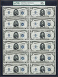 Small Size:Silver Certificates, Fr. 1650 $5 1934 Silver Certificates. Uncut Sheet of Twelve. PMG About Uncirculated 55.. ...