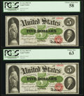 Large Size:Legal Tender Notes, Fr. 61a $5 1862 Legal Tender Cut Sheet of Four PCGS Very Choice New64, Choice New 63, Choice About New 58 (2).. ... (Total: 4 notes)