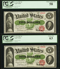 Fr. 61a $5 1862 Legal Tender Cut Sheet of Four PCGS Very Choice New 64, Choice New 63, Choice About New 58 (2)
