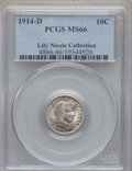 Barber Dimes: , 1914-D 10C MS66 PCGS. Ex: Lili Nicole Collection. PCGS Population: (20/4). NGC Census: (12/7). CDN: $850 Whsle. Bid for pro...