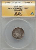 Early Dimes, 1805 10C 4 Berries -- Bent, Cleaned -- ANACS. VF30 Details. JR-2.NGC Census: (0/19). PCGS Population: (21/218). Mintage ...