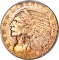 Indian Half Eagles, 1908-D $5 MS64+ PCGS. CAC....
