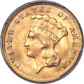 Three Dollar Gold Pieces, 1874 $3 MS65 PCGS....
