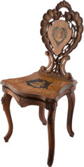 Entertainment Collectibles:Music, Black Forest Carved Musical Chair with 60 Note CylinderMovement....
