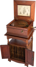 "Entertainment Collectibles:Music, Regina Style 14a Coin-Op 15 1/2"" Disc Music Box on Disc StorageCabinet...."