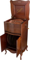 "Entertainment Collectibles:Music, Regina Style 40 Mahogany Console 15 1/2"" Disc Music Box...."
