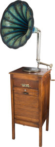 "Entertainment Collectibles:Music, French Coin-Op Floor Standing Gramophone with 26"" Horn...."
