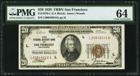 Fr. 1870-L $20 1929 Federal Reserve Bank Note. PMG Choice Uncirculated 64