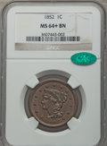 Large Cents: , 1852 1C MS64+ Brown NGC. CAC. NGC Census: (159/168 and 1/8+). PCGS Population: (206/132 and 5/4+). CDN: $345 Whsle. Bid for...