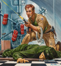 Mainstream Illustration, Mort Künstler (American, b. 1931). The Air Force Colonel WhoRobbed a Bank, Stag magazine cover, July 1959. Gouache on b...