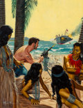 Mainstream Illustration, Mort Künstler (American, b. 1931). Shipwrecked Lieutenant andhis 33 Island Brides, Stag magazine cover, January 1958. O...
