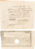Autographs:Statesmen, Oliver Wolcott and John Lawrence: Signed Continental ArmyDocuments.... (Total: 2 Items)