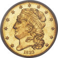 Early Half Eagles, 1833 $5 Small Date, BD-3, High R.7, MS61 PCGS....