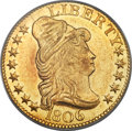 Early Half Eagles, 1806 $5 Pointed 6, 8x5 Stars, BD-3, R.7, MS62 PCGS. CAC....
