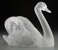 Art Glass:Lalique, Lalique Clear and Frosted Glass Cygne Tete Droit Swan.Post-1945. Engraved Lalique, France. Ht. 9-1/2 in.. ...