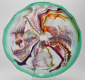 Art Glass, James Nowak (American, b. 1956). Coral Reef Charger.Murrini, dichoric and cane glass. 23 inches diameter (58.4 cm).Sig...