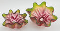 Art Glass:Other , Dale Chihuly (American, b. 1941) . Royal Raspberry SeaformPair, Portland Press Edition, circa 2003. Engraved tosma...