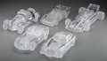 Art Glass:Daum, Four Daum Clear and Frosted Glass Cars with Associated Model. Late20th century. Engraved Daum, France. 3-1/2 x 7-3/4 x ...(Total: 5 Items)